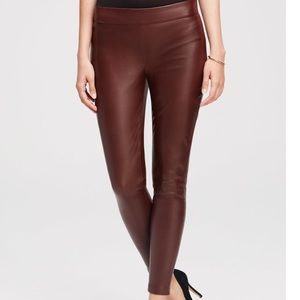 NWT Ann Taylor Faux Leather Wine Side zip pant